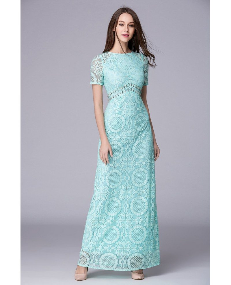 Mint Green Feminine A-Line Lace Long Prom Dress With Sleeves ...