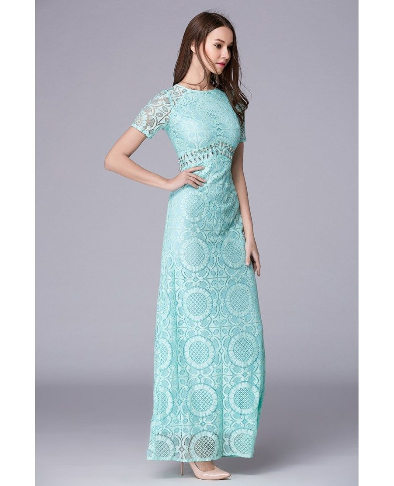 Mint Green Feminine A-Line Lace Long Prom Dress With Sleeves #CK501 ...