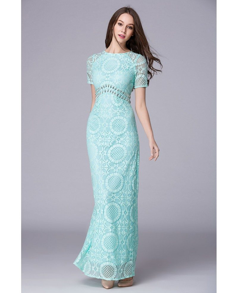 Green Feminine A-Line Lace Long Prom Dress With Sleeves