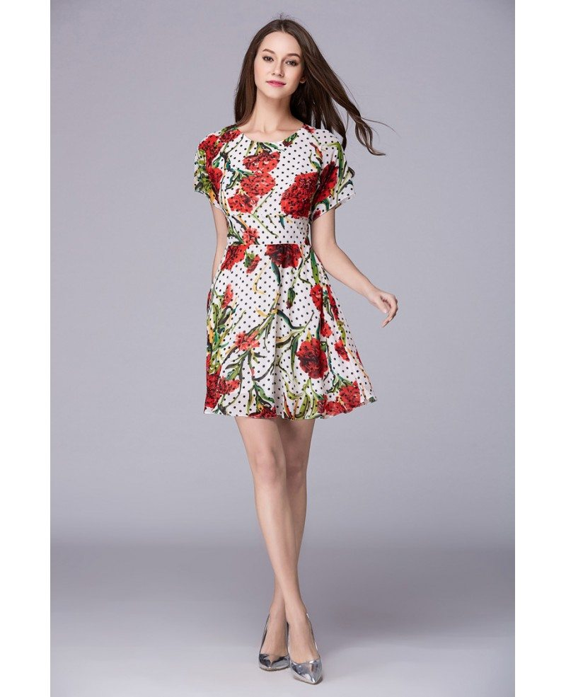 summer floral print chiffon short weeding guest dress with
