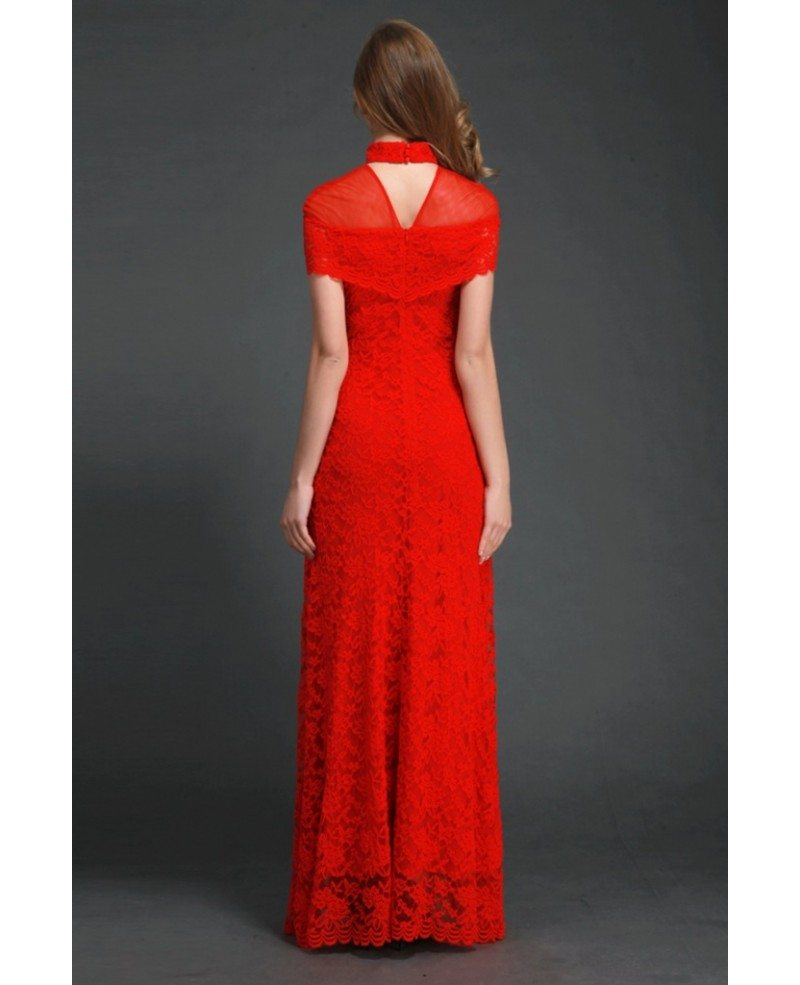 Chinese Style High-neck Lace Red Fitted Long Dress With Sleeves ...