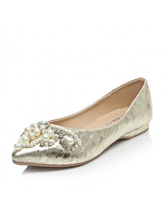 Glitter Closed Toe Flats With Imitation Pearl  Rhinestone Style