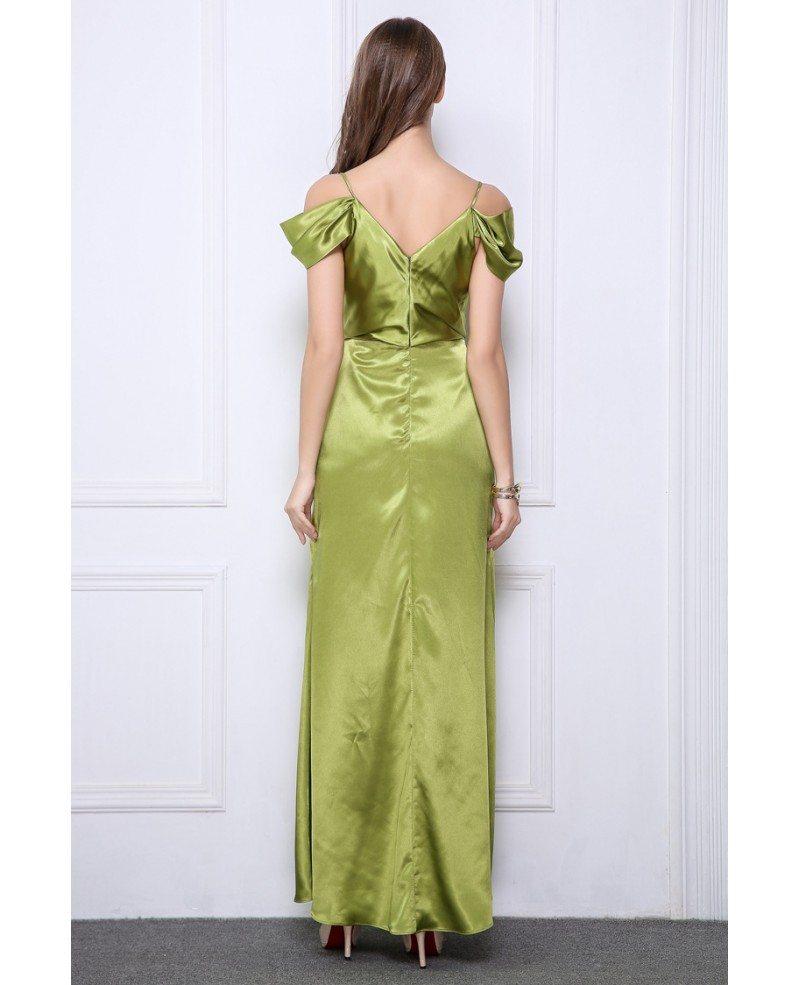 Elegant A-Line Satin Long Evening Dress With Ruffle #CK514 ...