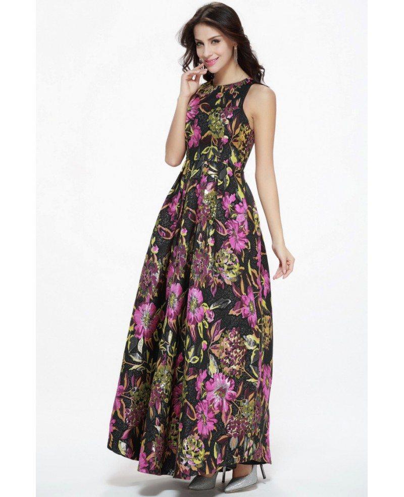 Vintage Fashion Floral Printed Maxi Long High Neck Dress