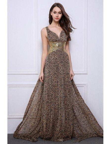 Stylish sheath v neck leopard print wedding guest dresses for Zebra print wedding dress