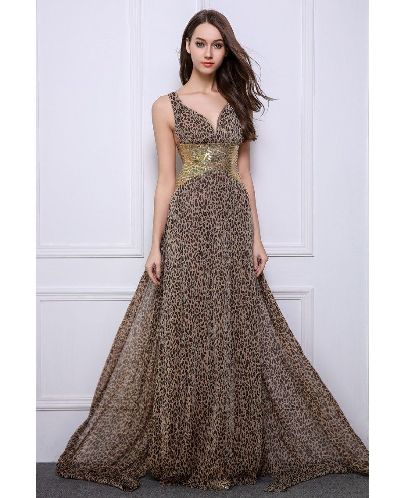 Stylish sheath v neck leopard print wedding guest dresses for Guest of wedding dresses