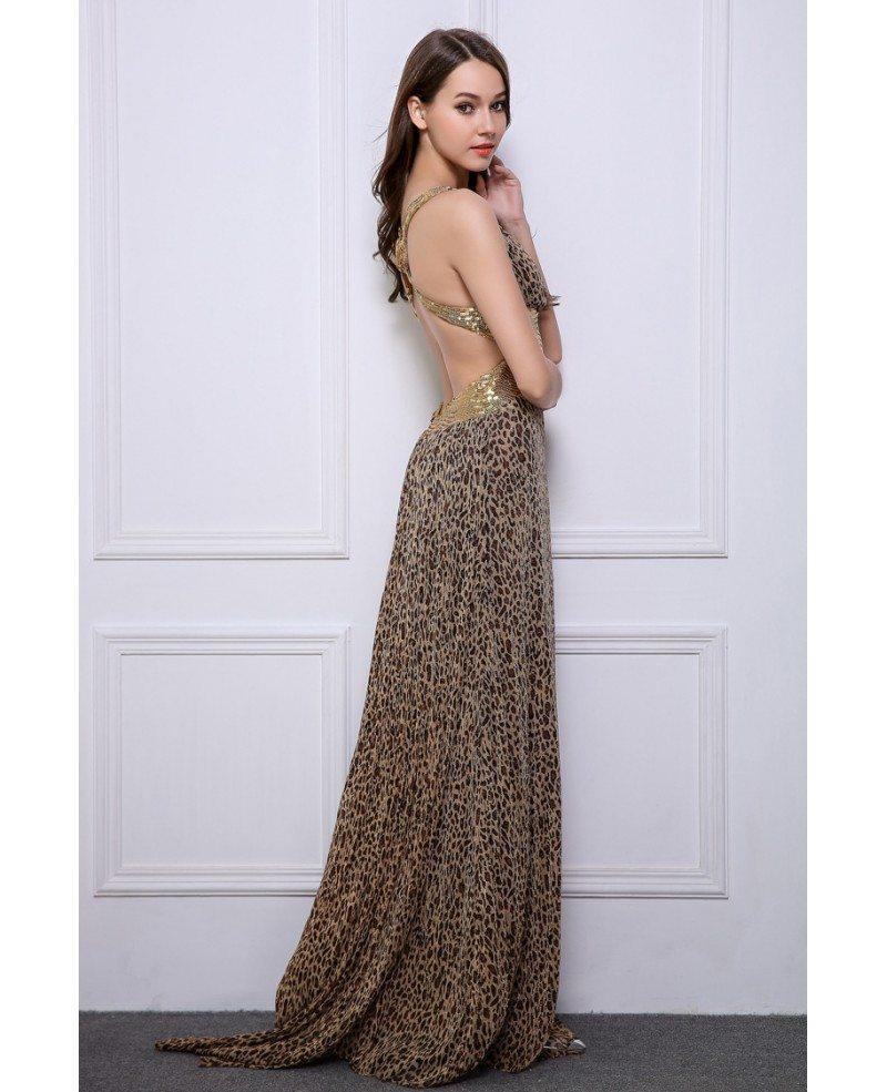 Guest Of Wedding Dresses: Stylish Sheath V-neck Leopard Print Wedding Guest Dresses