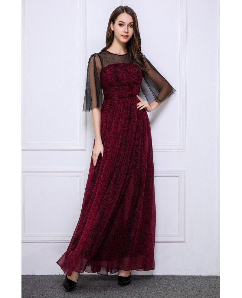 Elegant A-Line Chiffon Printed Long Evening Dress With Sleeves ...