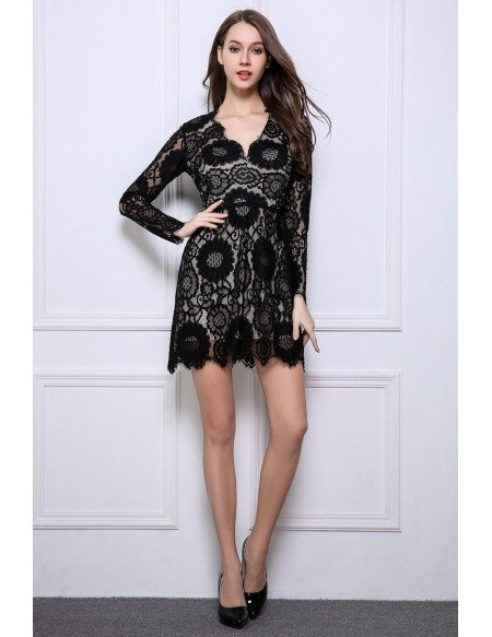 Stylish A Line Black Lace Mini Wedding Guest Dresses With Long Sleeves DK354 782