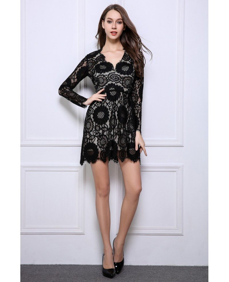 Long Gowns For Wedding Guests: Stylish A-Line Black Lace Mini Wedding Guest Dresses With