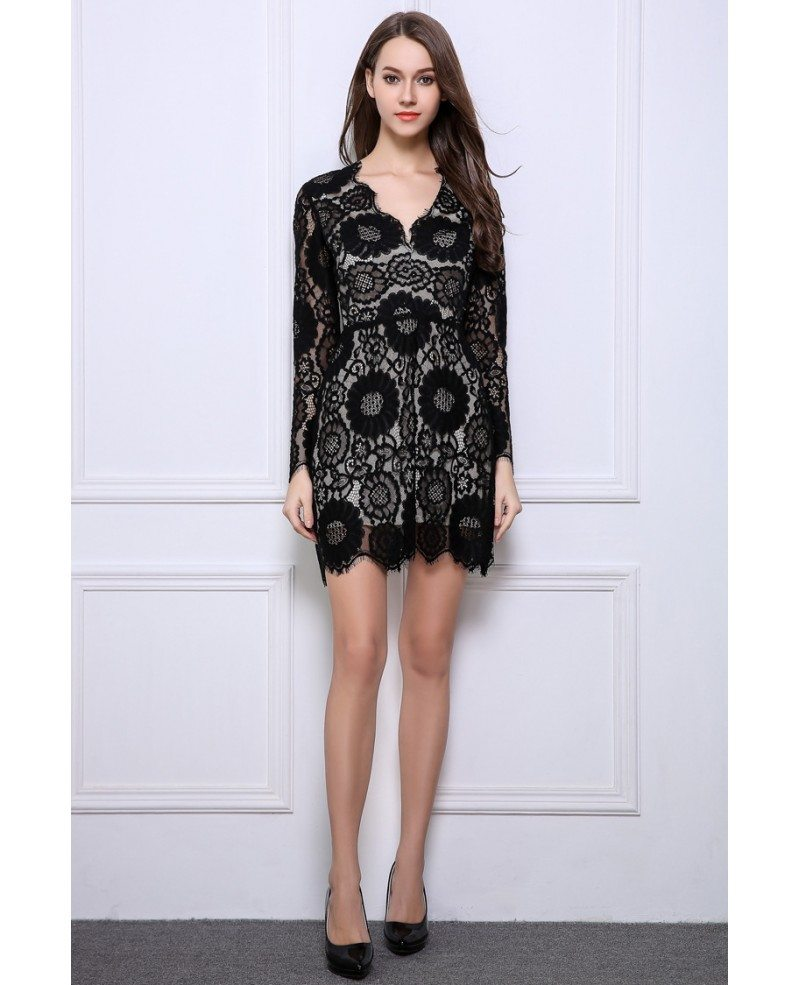 stylish aline black lace mini wedding guest dresses with