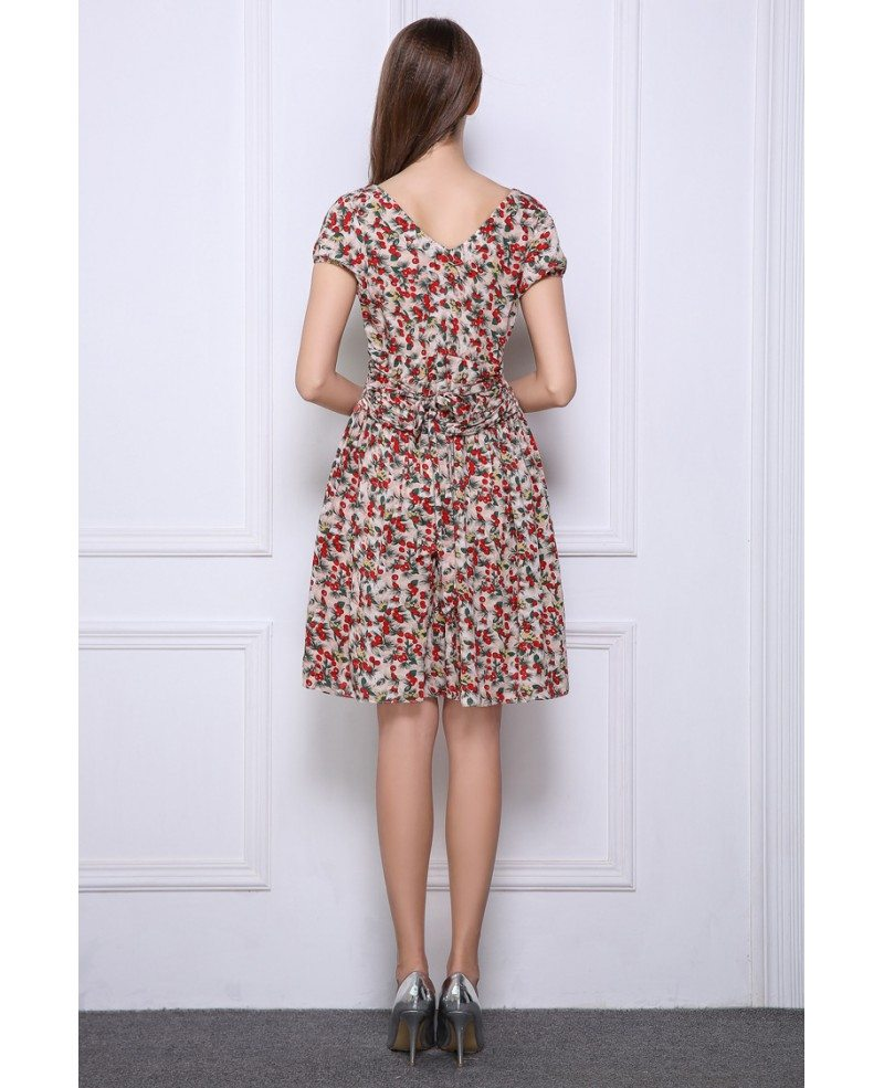 Summer stylish a line floral print short wedding guest for Floral print dresses for weddings