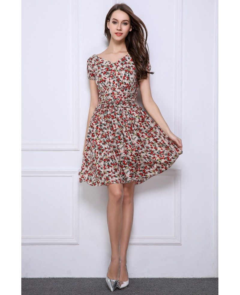 Wedding Guest Dress: Summer Stylish A-Line Floral Print Short Wedding Guest