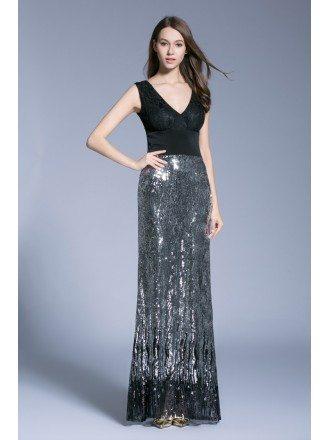 Chic Sheath V-neck Sequined Evening Dresses