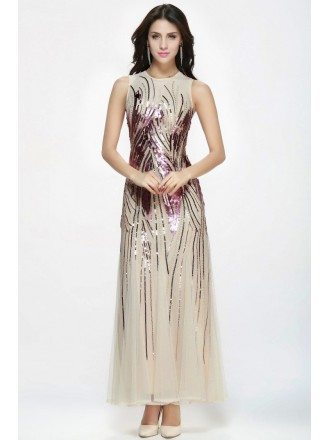 High Neck Fitted Sparkly Sequined Modest Dresses with Empire Waist