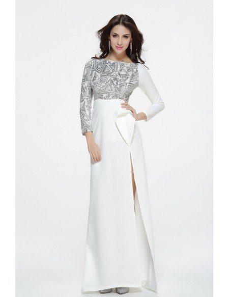 Elegant Long White Evening Dresses With Long Sleeves Ck340 1118