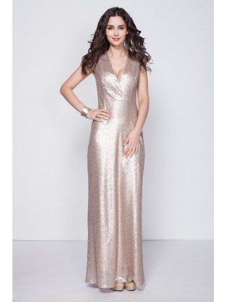Stylish Sheath V-neck Sequined Long Prom Dress