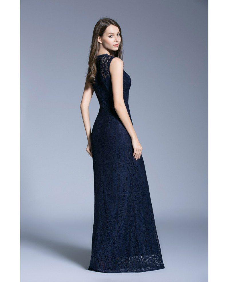 Navy Blue Modest A-Line Lace Floor-Length Formal Dress #CK528 $96 ...