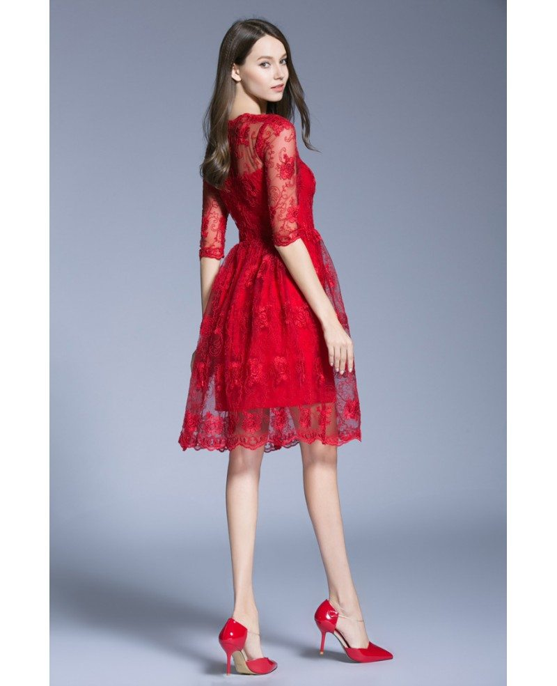 Lace Knee Length Cocktail Dresses