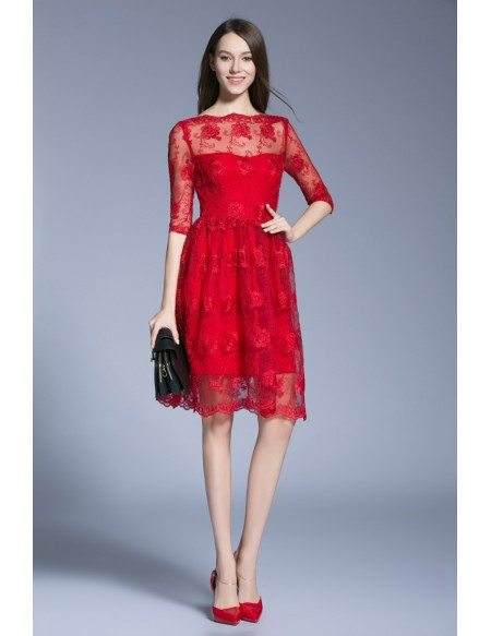 Knee Length Cocktail Dress with Sleeves