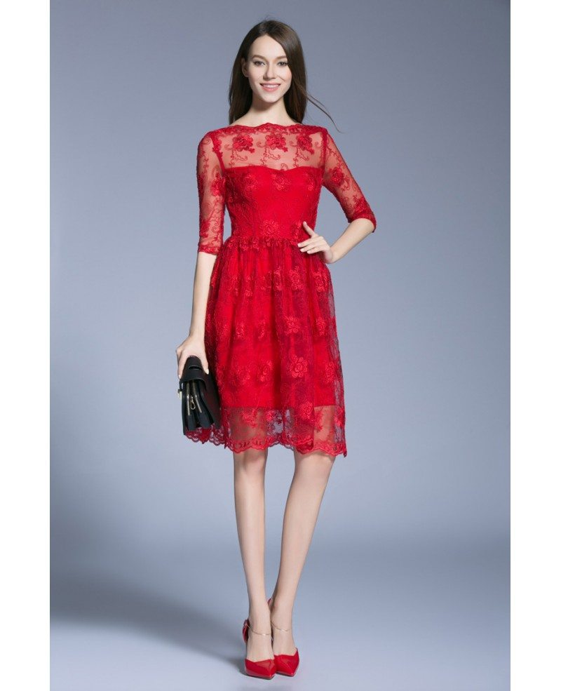 Modest A-Line Red Lace Knee-Length Cocktail Dresses With Sleeves ...
