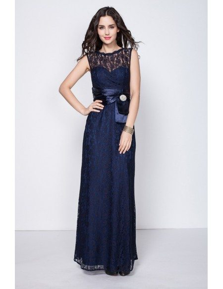 Beautiful Navy Blue Petite Semi Formal Dresses with Full Lace ...