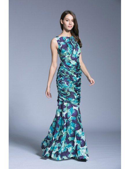 Summer tropical sheath printed chiffon long weeding guest for Tropical wedding guest dresses