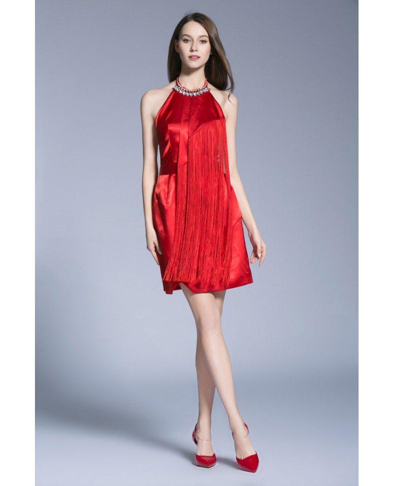 Stylish A-Line Halter Satin Short Wedding Guest Dresses With Fringe ...