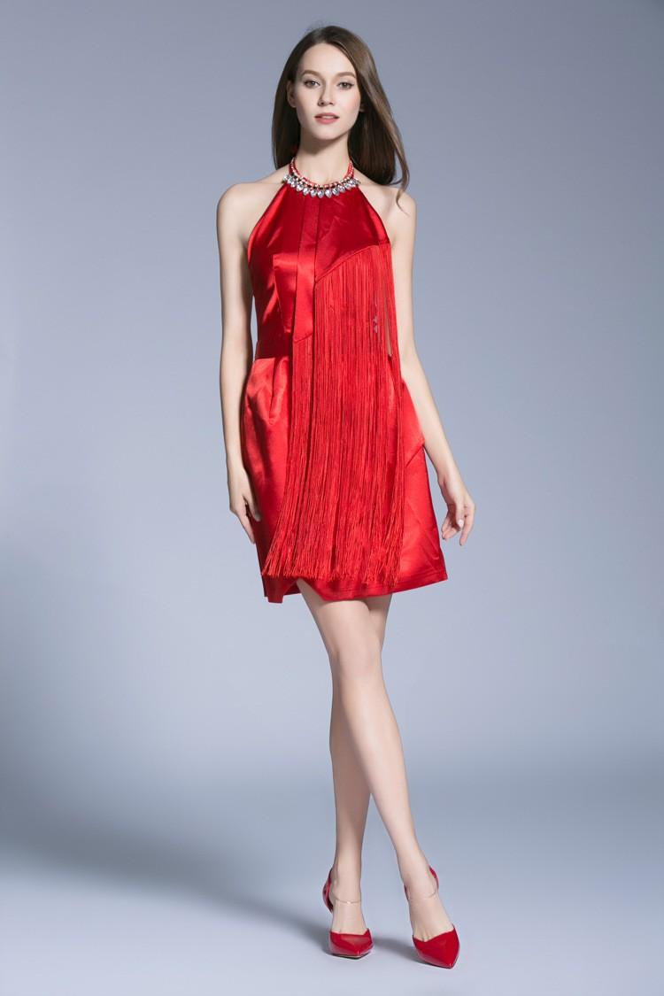 Stylish a line halter satin short wedding guest dresses for Halter dress wedding guest
