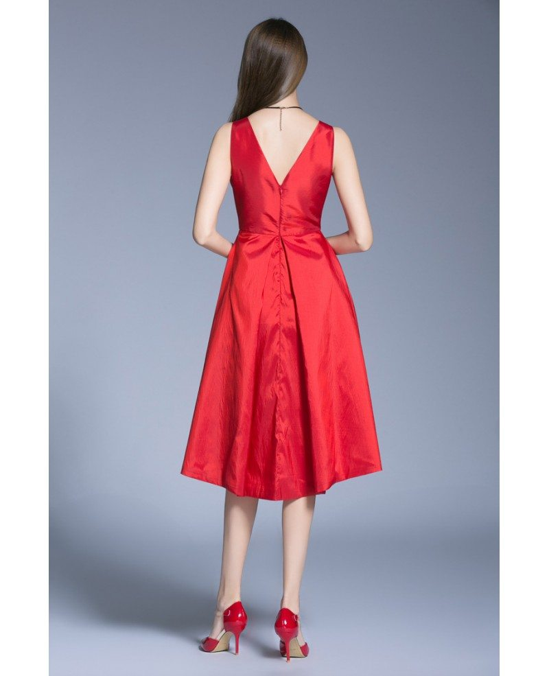 Shipping Custom Dress Line Knee: Elegant A-Line V-neck Satin Knee Length Wedding Guest