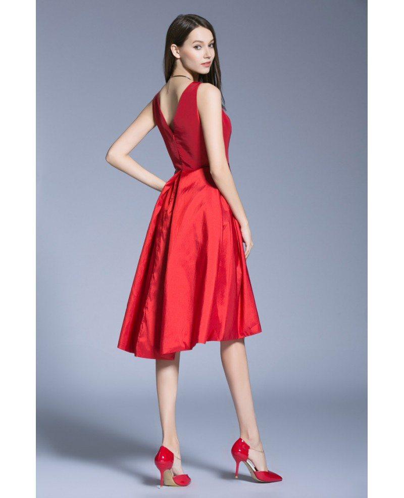 Elegant A-Line V-neck Satin Knee Length Wedding Guest
