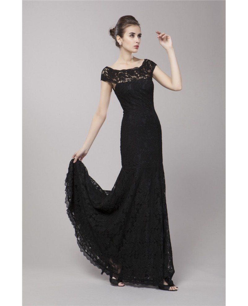 Simple Elegant Tulle A Line Scoop Neck Cap Sleeves Lace: Elegant A-Line Scoop Neck Lace Evening Dress With Cape