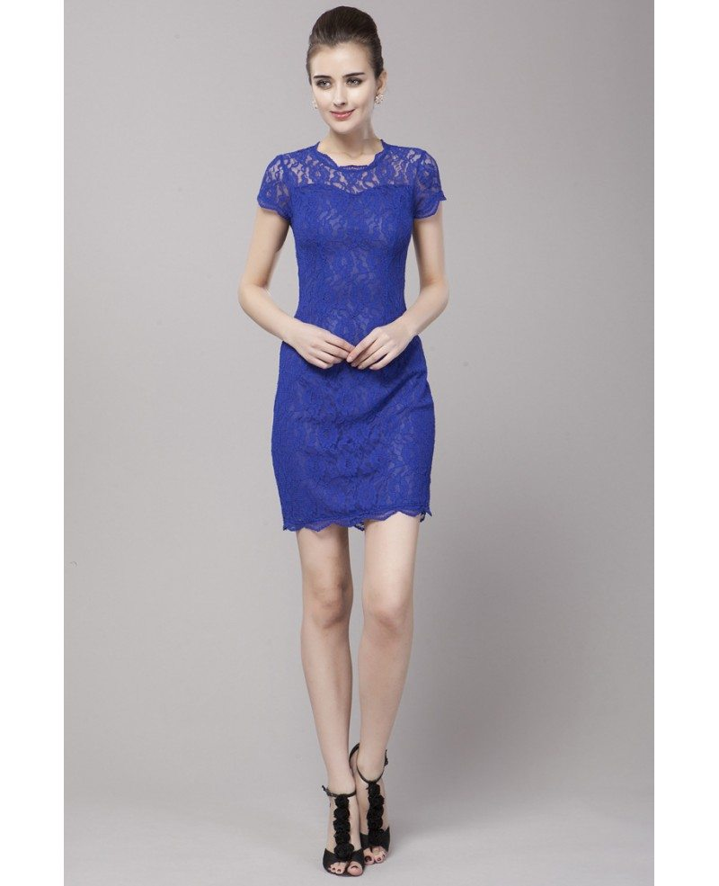 Body Fitted Little Short Dress Blue Lace Short Sleeves #DK87 $62.9 ...