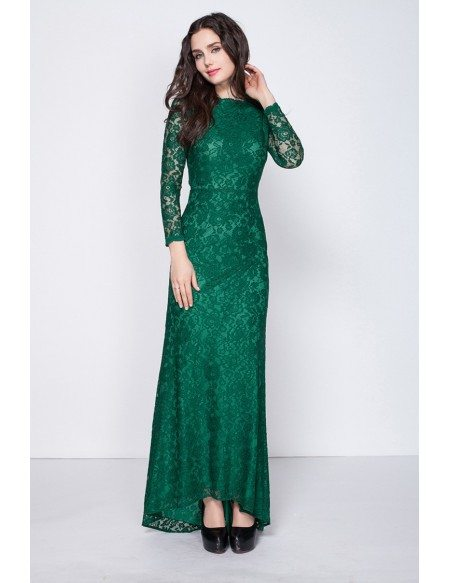 Gorgeous Dark Green Long Sleeved Full Lace Mermaid Evening