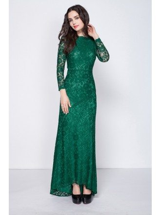 Gorgeous Dark Green Long Sleeved Full Lace Mermaid Evening Dresses With Open Back