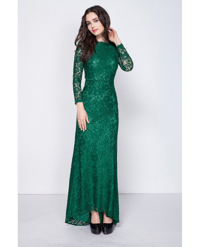 Gorgeous Dark Green Long Sleeved Full Lace Mermaid Evening Dresses With Open Back #CK350 $88 ...