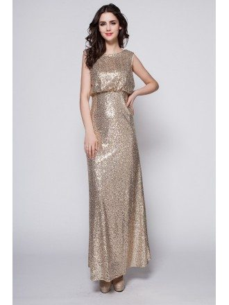 Gorgeous Empire Sequined Long Evening Dress