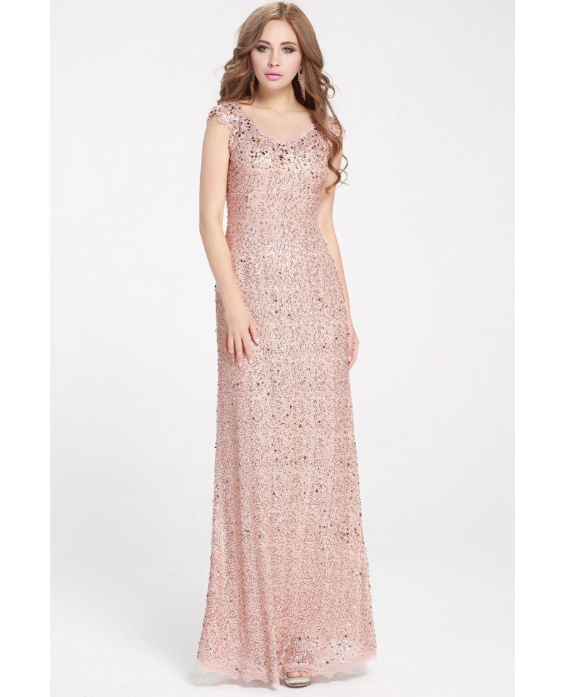Long Pink Sparkly Sequins Pageant Dress With Cap Sleeves