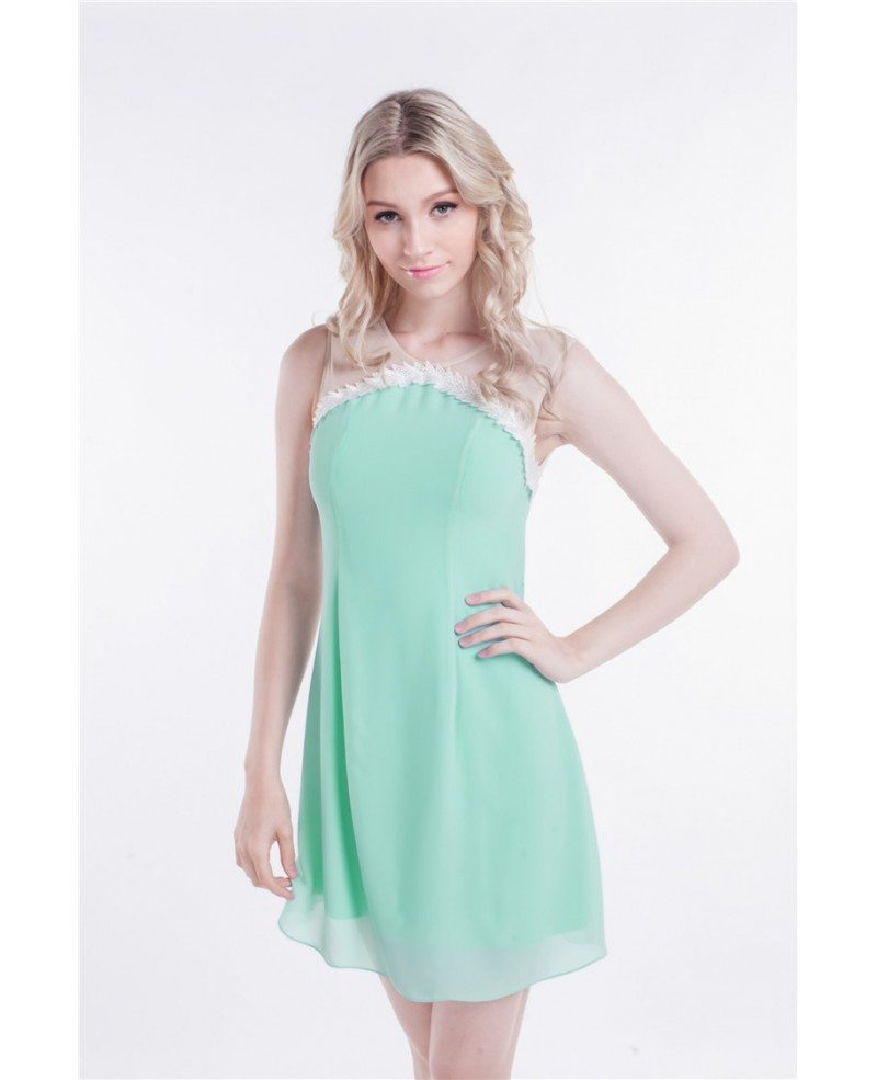 Sheer Top Mint Green Short Chiffon Homecoming Dresses #DK181 $60.8 ...