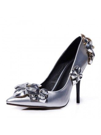 Silver Satin Stiletto Closed Toe Pumps With Flower Style
