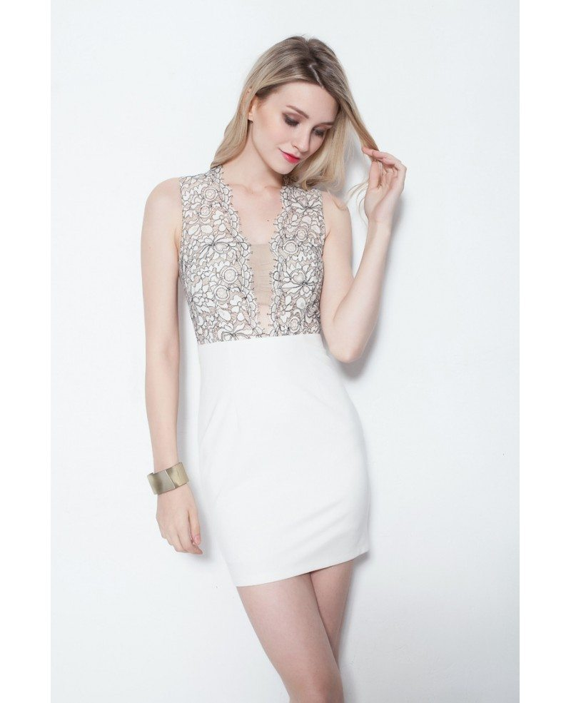 Sexy Little White Cocktail Lace Tight Dress #DK207 $60.8 - GemGrace.com
