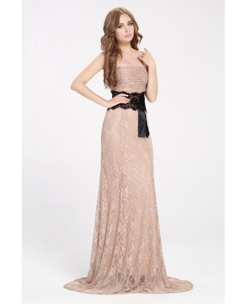 Nude Lace Long Evening Dress with Black Sash #CK365 $84.1 - GemGrace.com