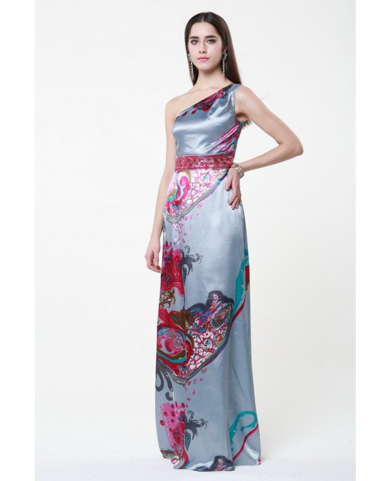 Chinese Style One Shoulder Floral Print Floor-Length Dress #CK291 ...