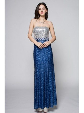 Blue and Silver Sparkly Sequins Party Dress Strapless