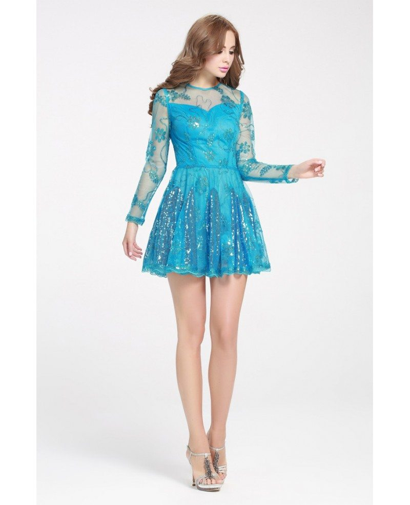 Blue Sequins Mini Short Prom Dress with Long Sleeves #DK248 $62.9 ...