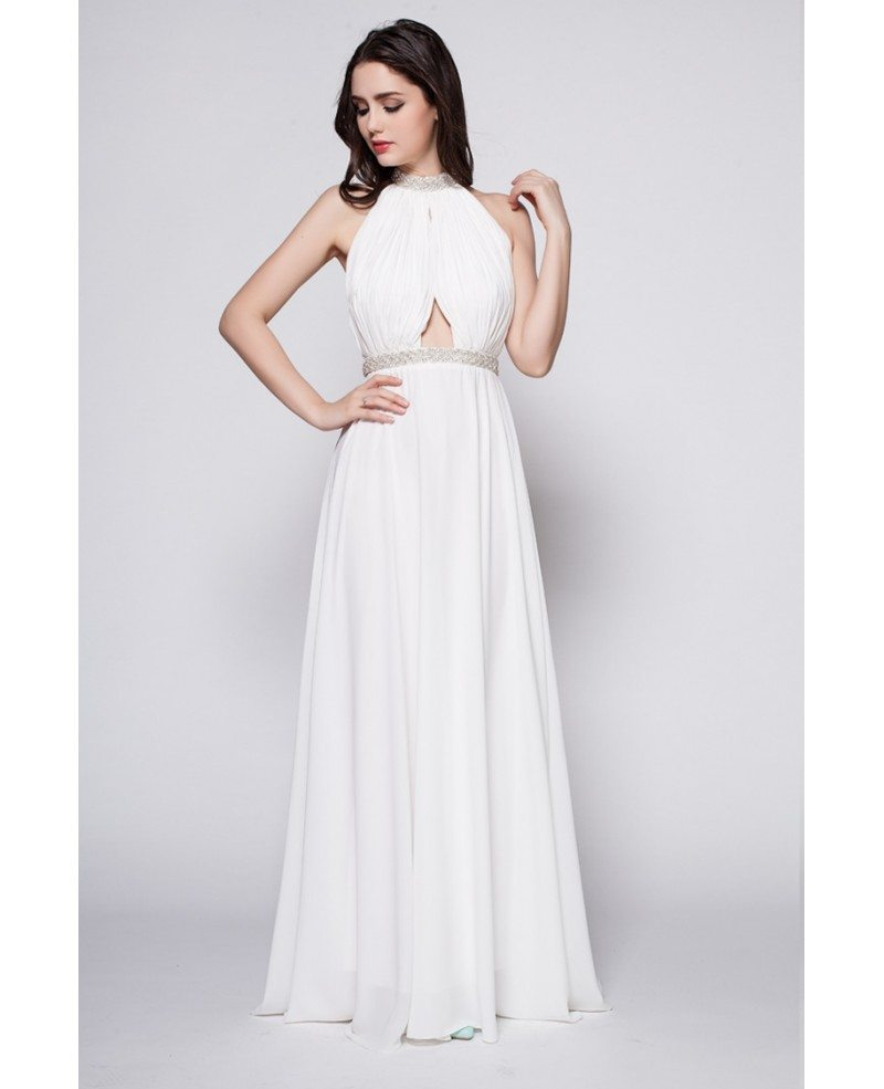 Halter Long Open Back White Goddess Formal Dress #CK381 $92.2 ...