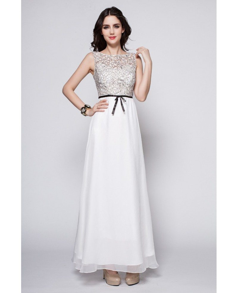 elegant summer long white lace top dress for wedding