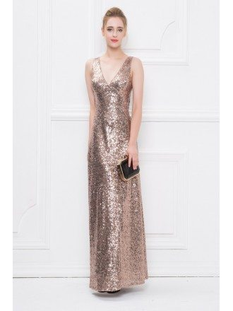 Gorgeous A-Line Sequined  V-neck Long Evening Dress