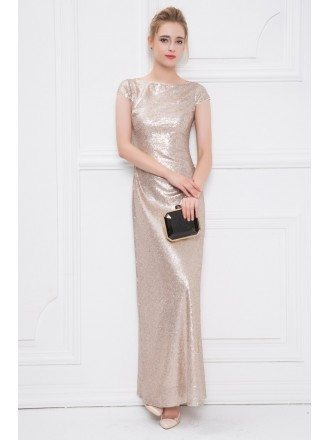 Gorgeous A-Line Sequined Long Evening Dress With Cap Sleeves