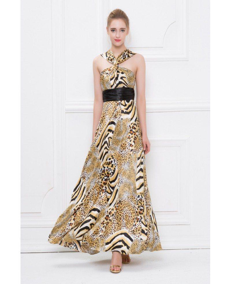 Chic Leopard print Y-neck Chiffon Long Wedding Guest Dress #CK414 ...